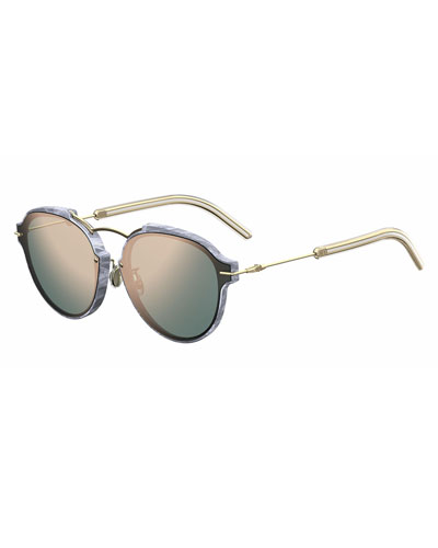Eclat Notched Mirrored Sunglasses, Silver/Rose