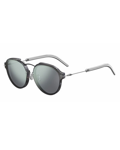Eclat Notched Mirrored Sunglasses, Blue