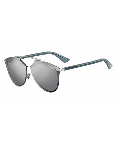 Reflected Prism Aviator Sunglasses, Silver