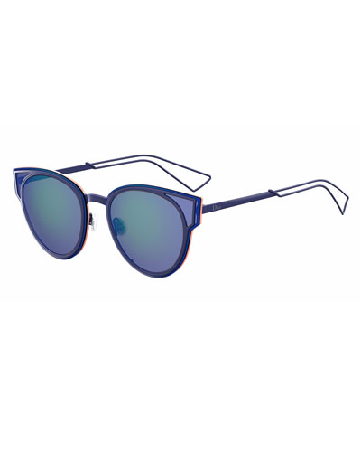 Sculpt Cat-Eye Sunglasses, Blue/Green