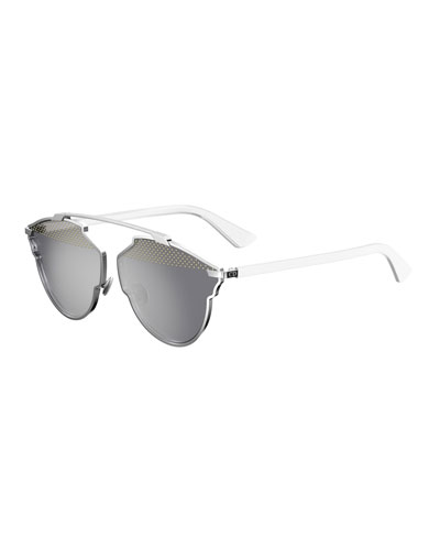 So Real Studded Sunglasses, White