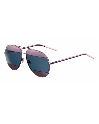 DiorSplit Two-Tone Metallic Aviator Sunglasses, Pink/Blue