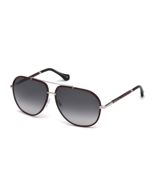 00ec5fa5d Balenciaga Leather-Trim Aviator Sunglasses, Red/Brown | Neiman Marcus
