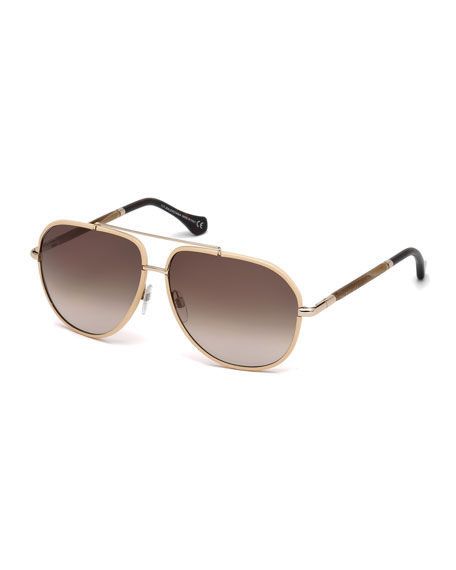 BalenciagaLeather-Trim Aviator Sunglasses, Nude/Horn