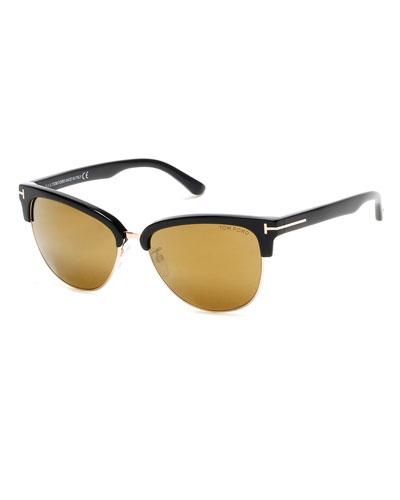 Fany Semi-Rimless Cat-Eye Sunglasses, Black/Rose/Bronze