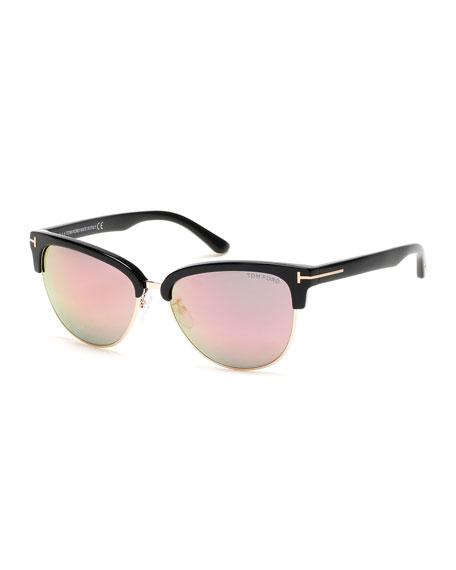 TOM FORD Fany Flash Semi-Rimless Cat-Eye Sunglasses,