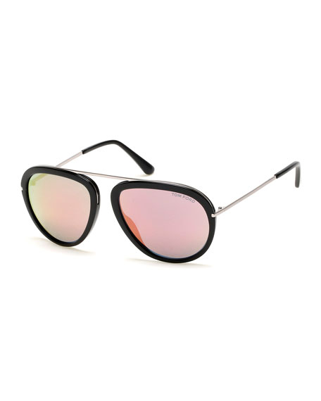 TOM FORD Stacy Flash Aviator Sunglasses, Black/Silver/Pink