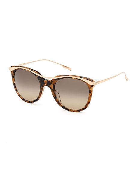 SALT. Elkins Rounded Square Polarized Sunglasses, Tortoise/Gold