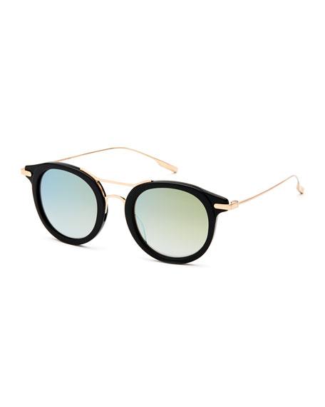 SALT. Taft Round Polarized Sunglasses, Black/Gold