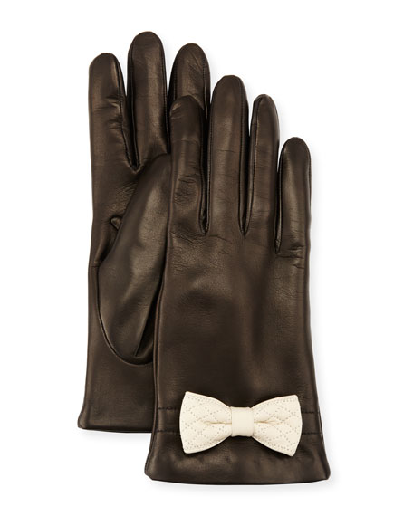 Portolano Leather Bow-Cuff Gloves, Black/White