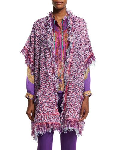 Boucle Fringe Short-Sleeve Cardigan, Purple/Pink