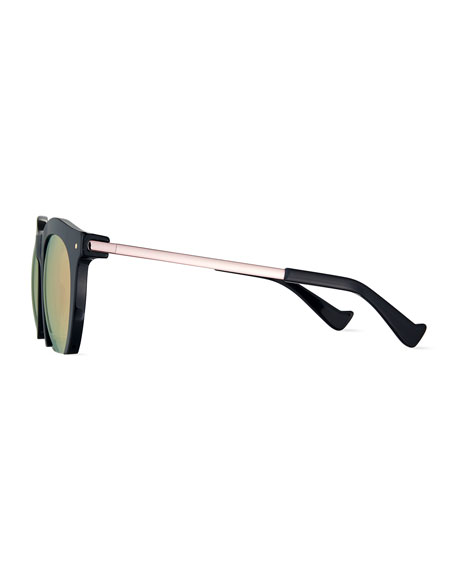 The Foundry Mirrored Cutoff Sunglasses, Dark Blue/Pink