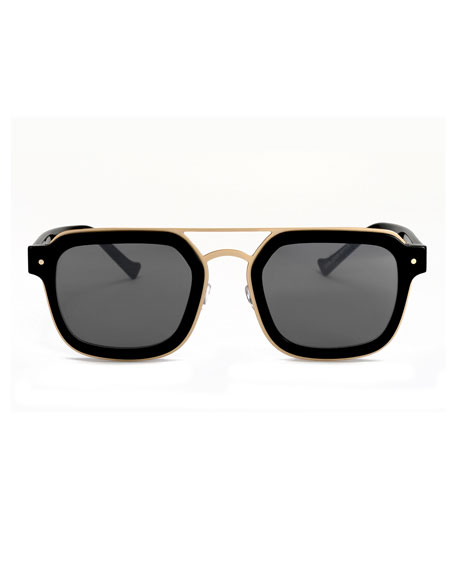 Notizia Square Mirrored Sunglasses, Black/Gold