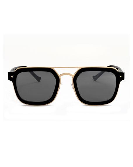 Notizia Square Mirrored Sunglasses, Black/Gold