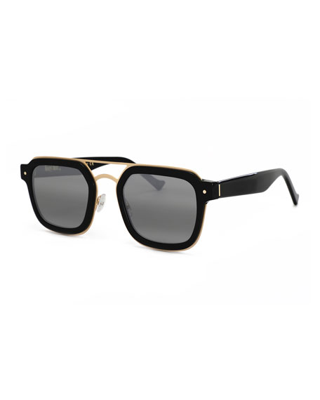 Grey Ant Notizia Square Mirrored Sunglasses, Black/Gold