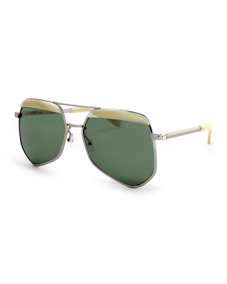 Grey Ant Hexcelled Capped Monochromatic Sunglasses, Silver/ Green
