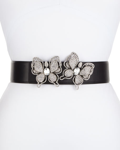 Deborah Drattell Butterflies Leather Belt, Silver