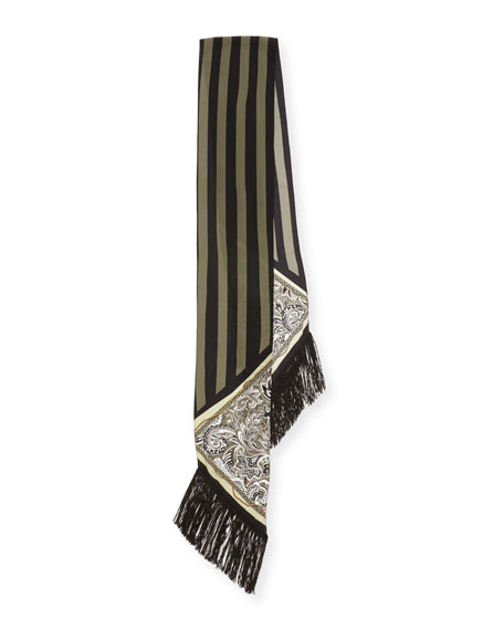 Paisley Chain Silk Maxi Fringe Scarf, Gray