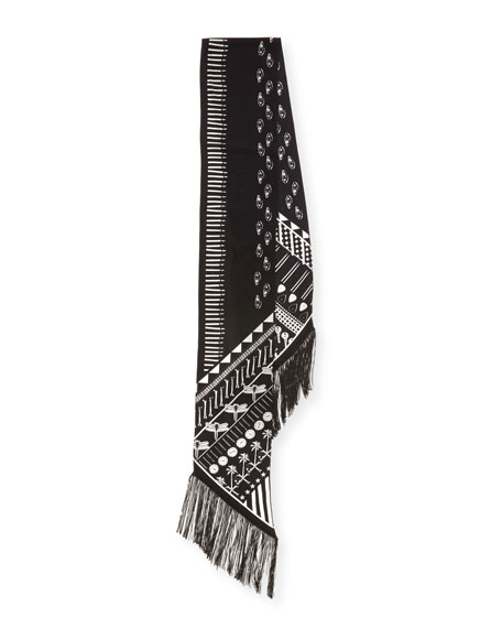Eye-Print Silk Maxi Fringe Scarf, Black