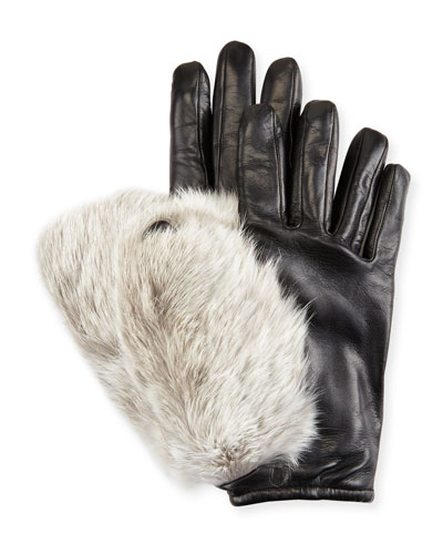 Leather & Rabbit Fur Gloves, Black