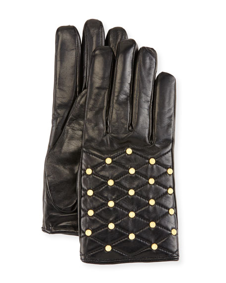 Imoni Studded Quilted Leather Gloves, Black