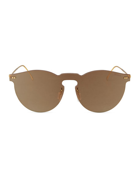Leonard Mirrored Mask Sunglasses, Bronze