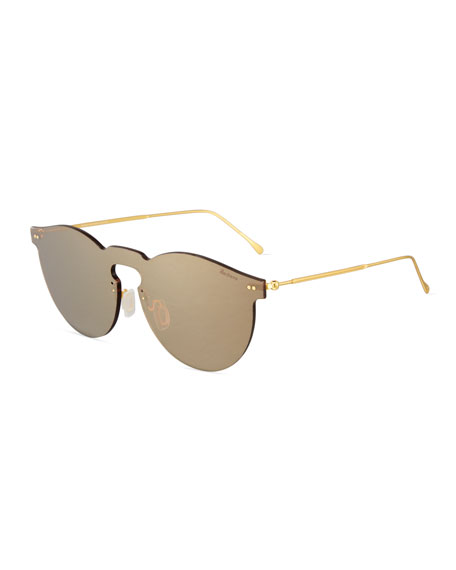 Illesteva Leonard Mirrored Mask Sunglasses, Bronze