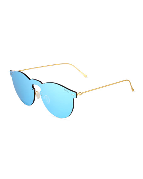 Leonard Mirrored Mask Sunglasses, Sky Blue
