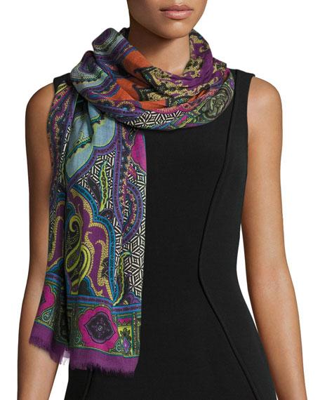 Dehli Multipattern Wool & Silk Scarf, Fuchsia