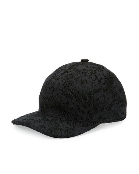 Gucci Floral Lace Baseball Cap, Black