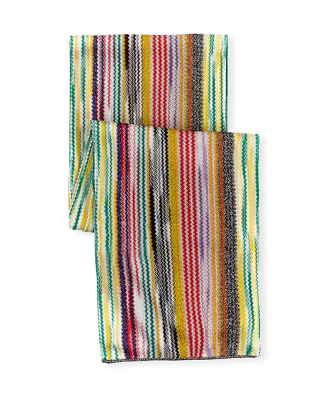 Long Metallic Zigzag Scarf, Multicolor