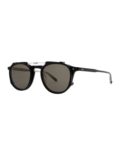 Garrett Leight Hampton Square Acetate Sunglasses, Matte Black