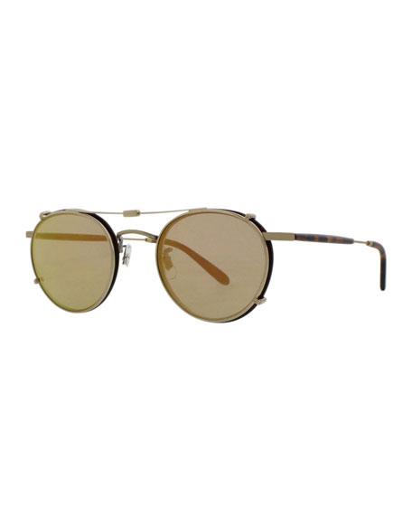 Garrett Leight Wilson Round Sunglasses, Gold/Tortoise