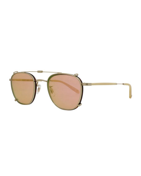 Garrett Leight Grant Square Sunglasses, Amber/Tortoise