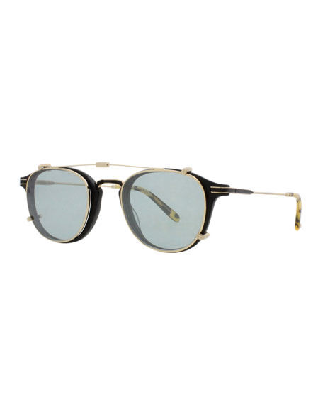 Garrett Leight Hampton Square Sunglasses, Matte Black