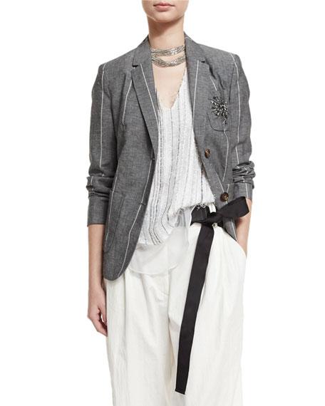 Grosgrain-Tie Leather Belt, Black