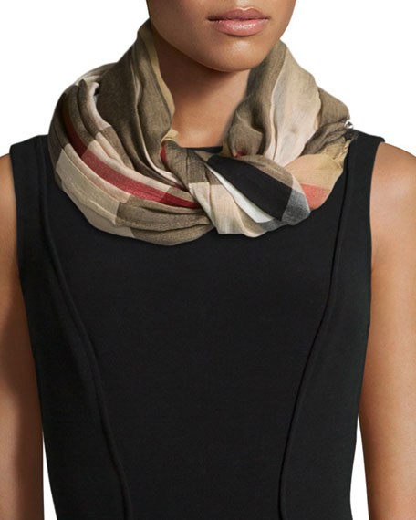 Burberry Sheer Mega Check Scarf, Camel