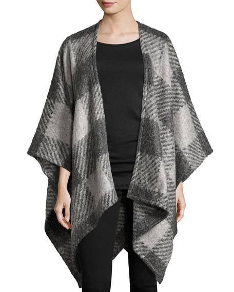 Rag & Bone Brushed Plaid Wrap, Gray
