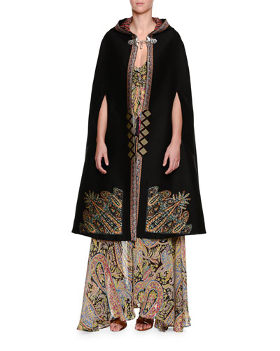Tangerin Embroidered Hooded Cape, Black/Gold