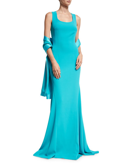 St. John Collection Classic Cady Satin-Trim Wrap, Turquoise