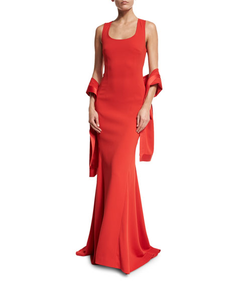 St. John Collection Classic Cady Satin-Trim Wrap, Red