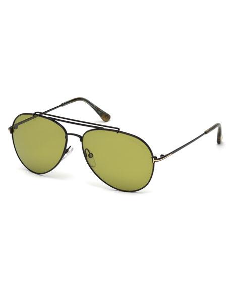 TOM FORD Metal Doubled-Brow Aviator Sunglasses, Black