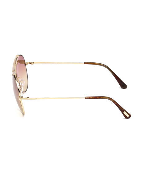 TOM FORD Metal Aviator Sunglasses, No Color