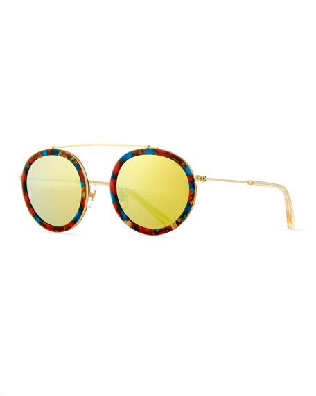 KREWE Conti Mirrored Round Aviator Sunglasses, Yellow