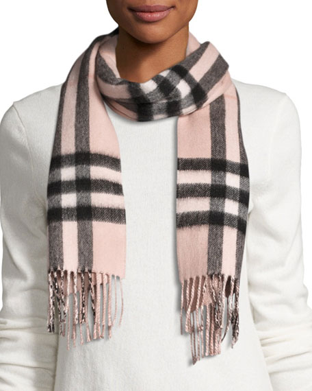 Burberry Metallic & Check Cashmere-Blend Scarf, Rose