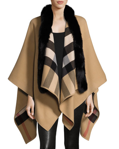 Solid to Check Wool & Fox Fur Cape, Camel