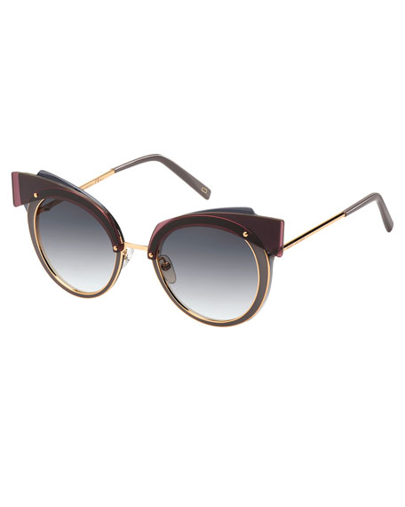 Marc Jacobs Gradient Round Sunglasses w/ Layered Brow,