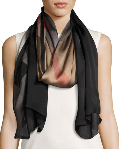 Burberry Ombre Washed Check Silk Scarf, Brown/Black