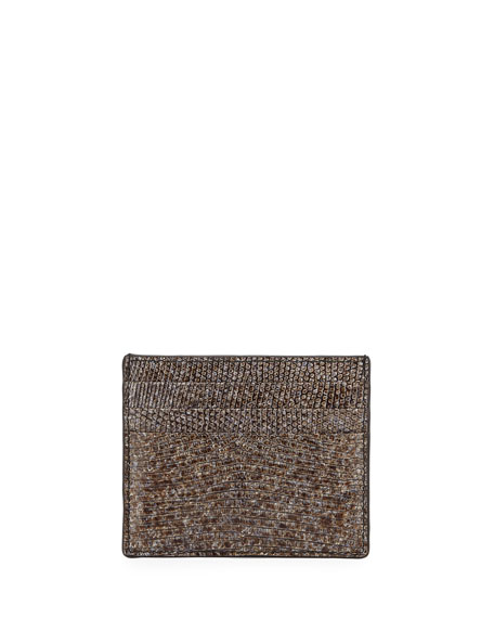 Bottega Veneta Lizard Card Case, Silver Marble