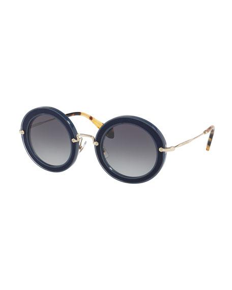 Miu Miu Noir Round Gradient Silk Satin Sunglasses,